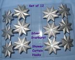 Shower curtain hooks set 12 matte silver metal starburst star thumb155 crop