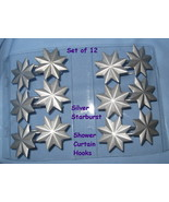 Shower Curtain Hooks set 12 matte Silver Metal Starburst star modern uni... - $11.77