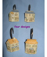 Shower Curtain Hooks set 12 resin shabby House Cottage chic beige blue H18 - $11.77