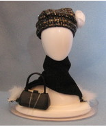 Mattel Barbie Fashion Fever  Doll Accessories 2004 black Hat Scarf Purse... - $14.77