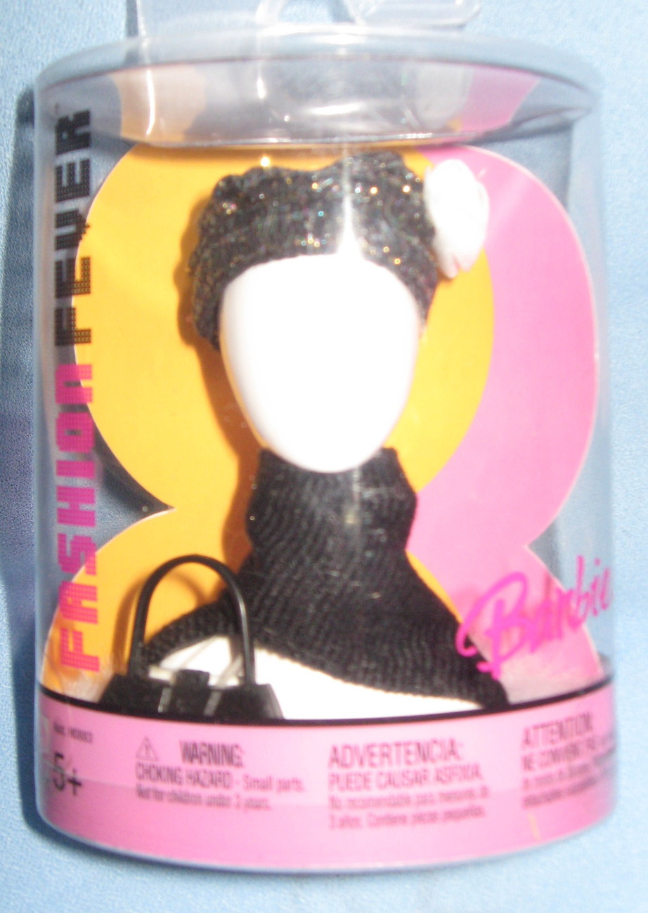 Mattel Barbie Fashion Fever  Doll Accessories 2004 black Hat Scarf Purse H14