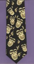 Ralph Marlin Just Chimps Neck Tie novelty apes 1999 retro black tan necktie N1 - $19.77