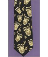 Ralph Marlin Just Chimps Neck Tie novelty apes 1999 retro black tan neck... - $19.77