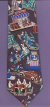 Johnny Carson Friday Work Day Neck Tie retro American Scene workers brow... - $37.77