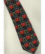 Fratello Valentine Hearts Neck Tie black red unisex novelty print neckti... - $17.77