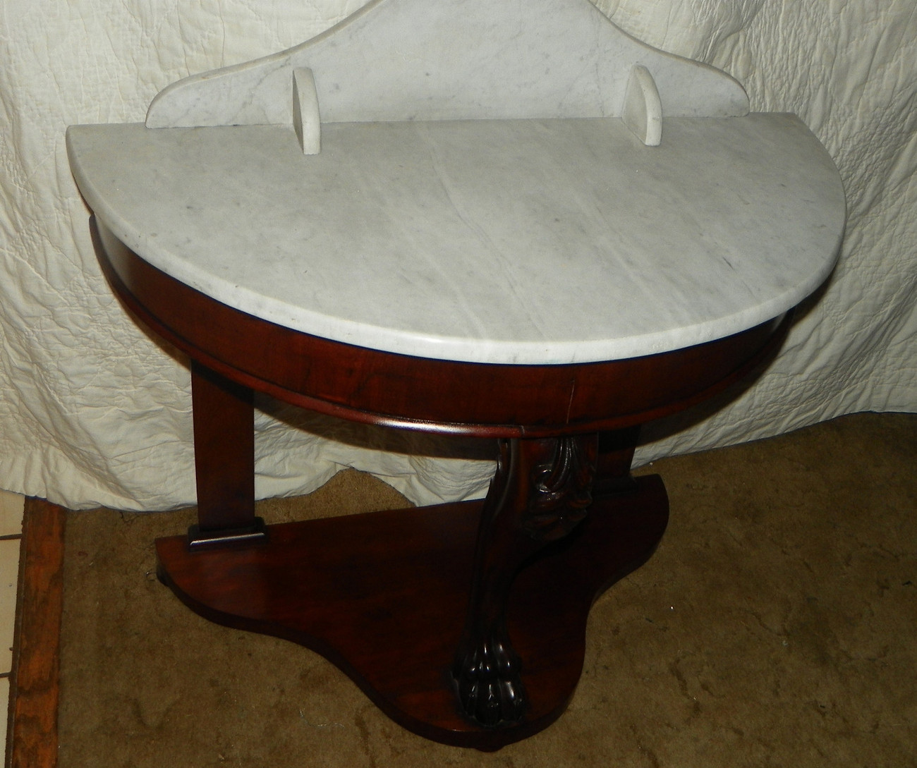 Mahogany Carved Marble Top Entry Table