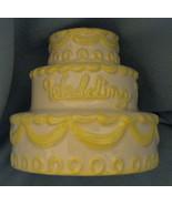 Wedding Cake Money Bank white yellow porcelain shower gift savings decor... - $12.77