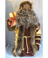 Santa Christmas Tree Topper mantle decor African American velvet faux fu... - $39.77