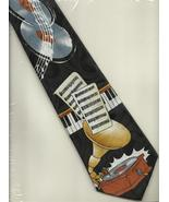 Florence Neck Tie novelty musical Record Player black silk necktie graph... - $21.77