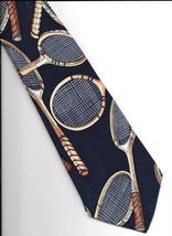 Nicole Miller Tennis Racquets Neck Tie 1994 black Silk retro novelty necktie N3 - $29.77
