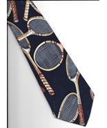 Nicole Miller Tennis Racquets Neck Tie 1994 black Silk retro novelty nec... - $29.77