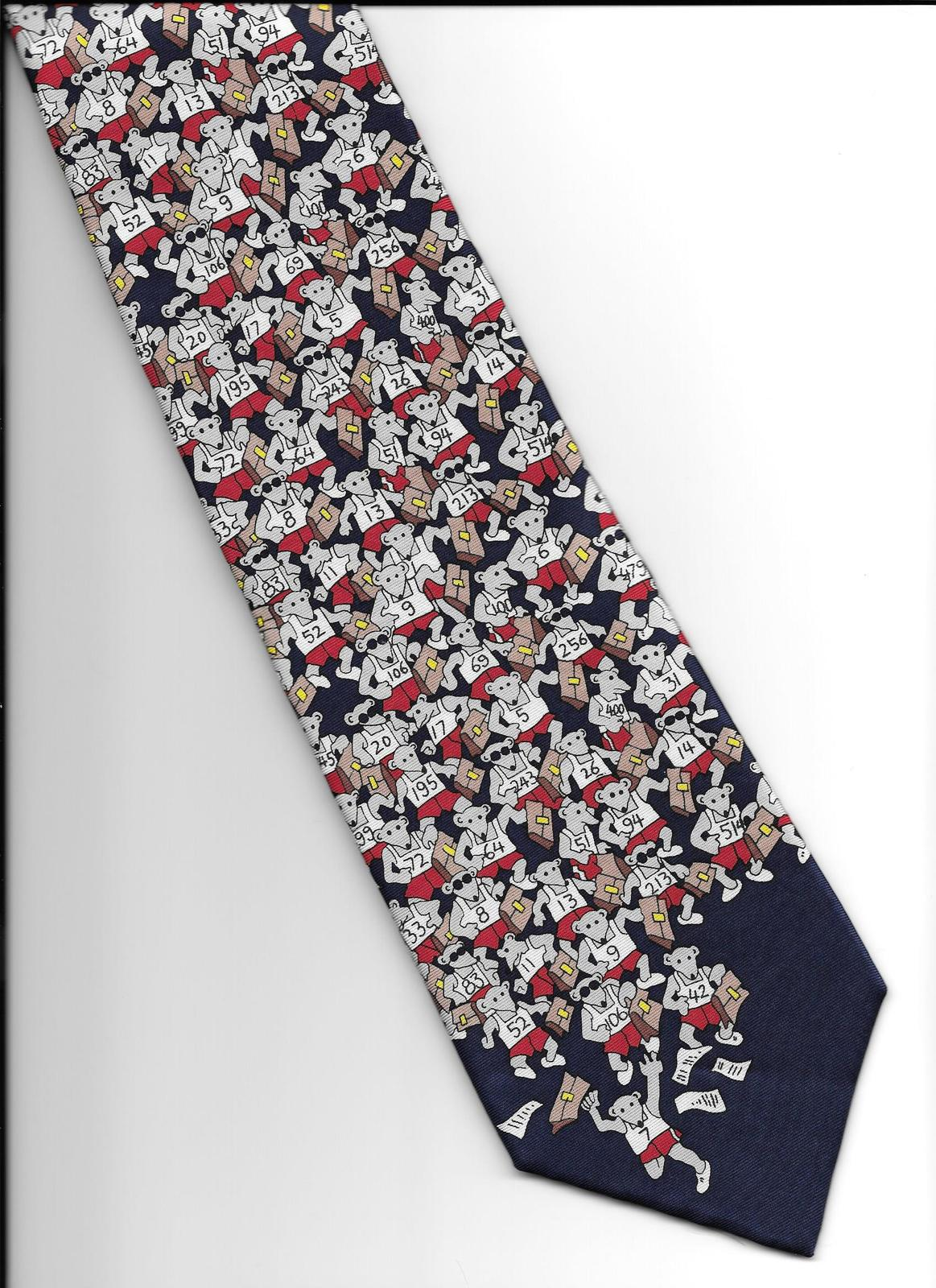Alynn Neckwear Rat Race Neck Tie blue silk novelty retro office necktie N3