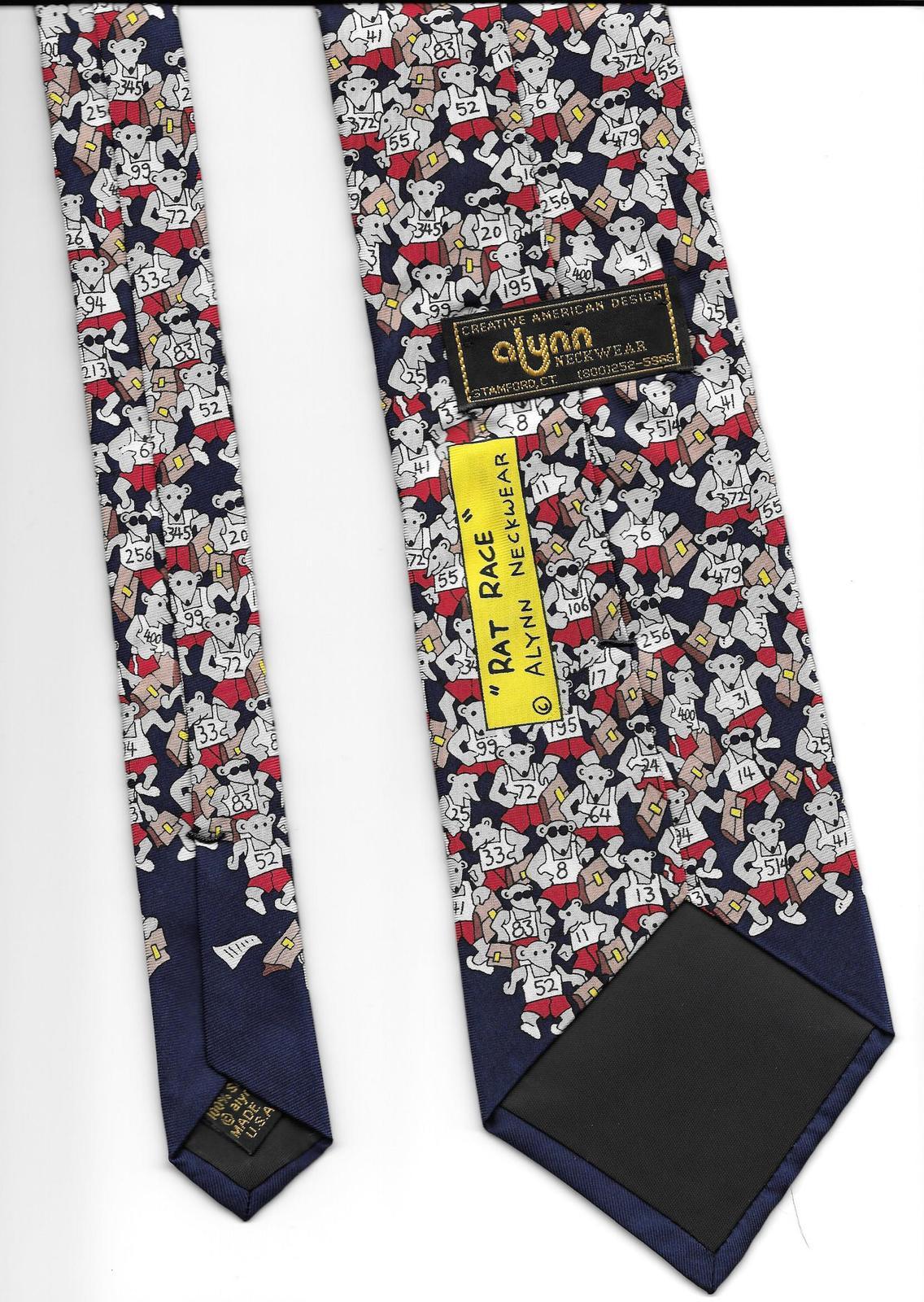 Alynn Neckwear Rat Race Neck Tie blue silk novelty retro office necktie N3