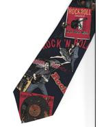 Harken Rock and Roll Neck Tie blue silk music novelty retro office neckt... - $21.77