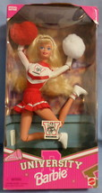 Mattel Barbie Doll University Wisconsin Cheerleader 1996 red white unifo... - $47.77