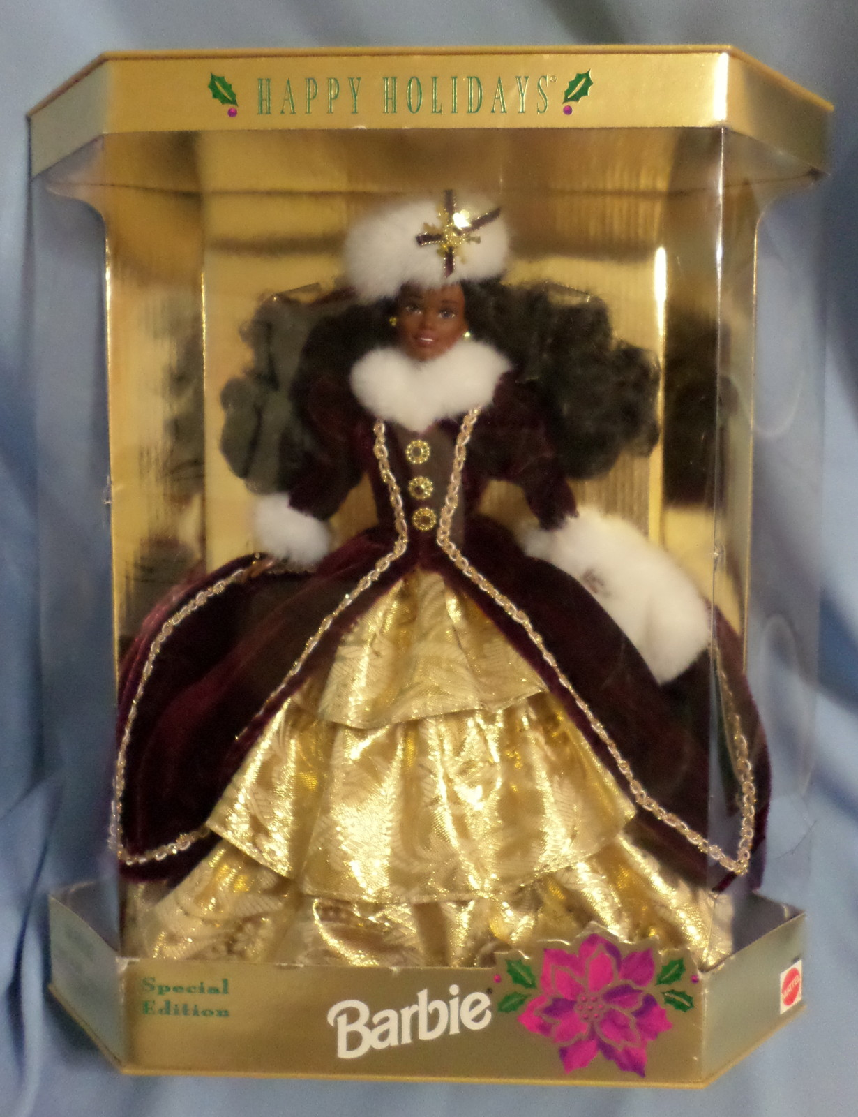 Mattel Barbie Doll Happy Holidays 1996 African American maroon gold costume