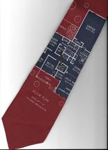 Vicky Davis Home Work  Neck Tie burgundy silk architect house plan neckt... - $24.77