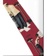 Norman Rockwell  Doctor visit Neck Tie burgundy silk Evening Post neckti... - $24.77