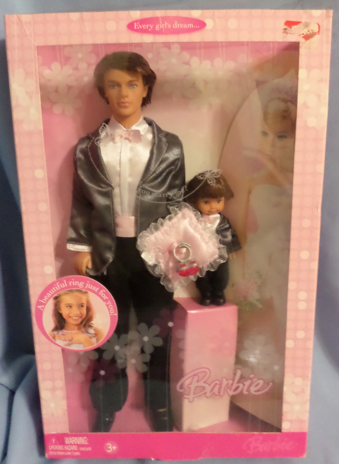 Mattel Barbie Ken Groom Ring Bearer Doll  2006 black white wedding suit backdrop