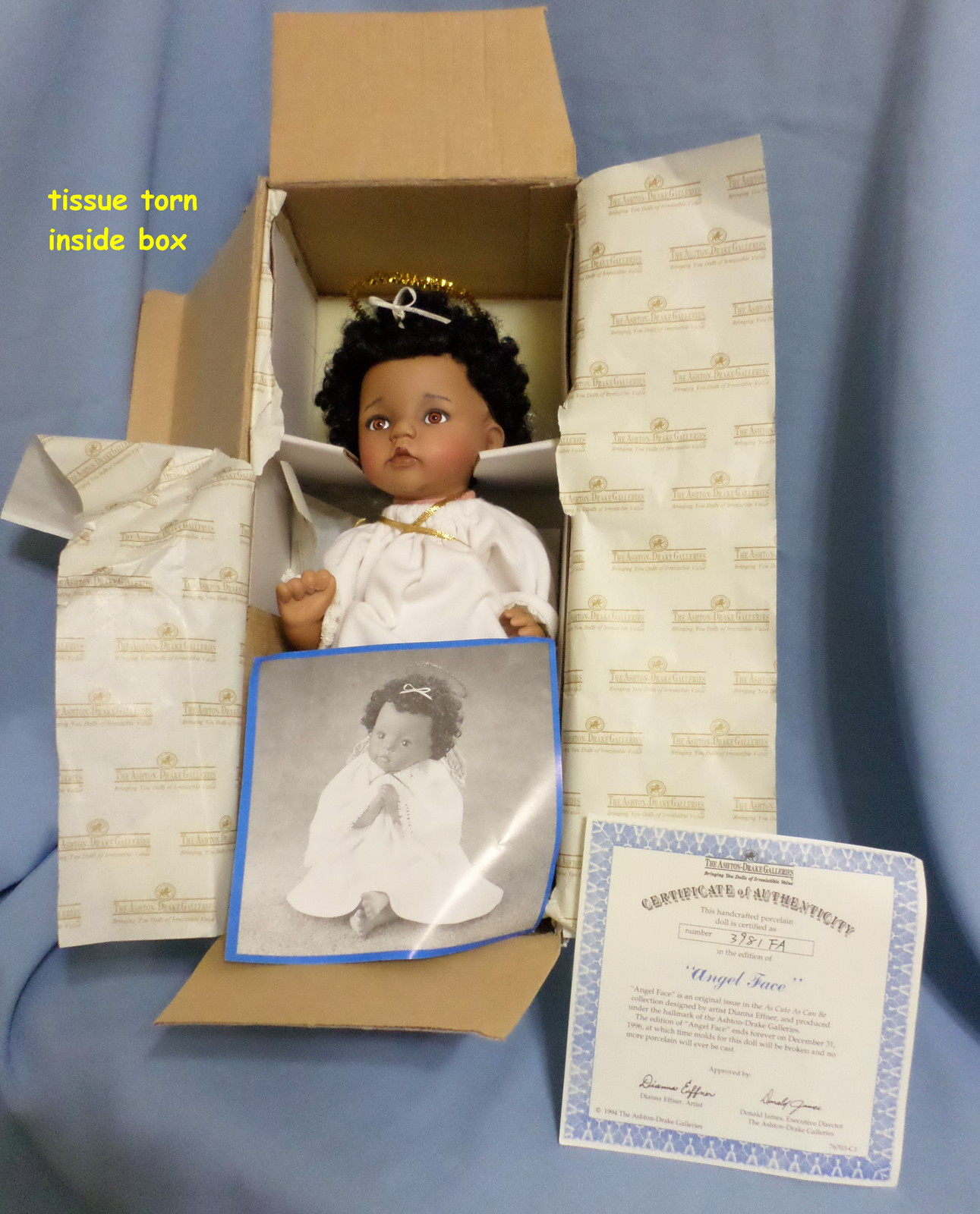 Ashton Drake Galleries Angel Face baby Doll 1994 African American porcelain