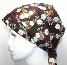 Elegant Burgundy Floral Cancer Hat Chemo Cap Headwrap Hairloss Head Scarf Turban - $16.95