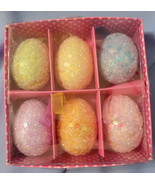 Pier 1 Easter Egg tree Ornaments pastel sequins beads set 6 blue pink gr... - $17.77