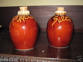 Vintage Hull Pottery Brown Drip Salt and Pepper Shakers Jug Shaped w Corks - $14.95