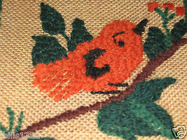 "VINTAGE HAND EMBROIDERED BIRD ON A LIMB ON BURLAP  10"" X 10"" - $9.94"