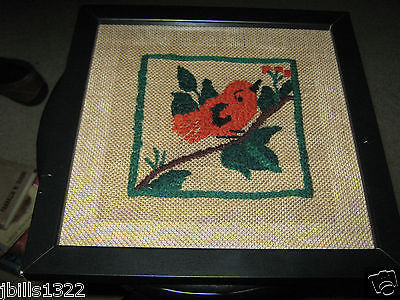 "VINTAGE HAND EMBROIDERED BIRD ON A LIMB ON BURLAP  10"" X 10"""