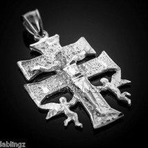 10k Solid White Gold Caravaca Crucifix with Angels Men's Cross Pendant - $319.99