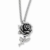 Stainless Steel Ed Hardy Large Rose Pendant Necklace - $58.80