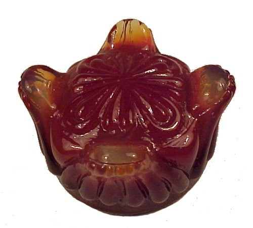 Pressed  Glass Footed Open Salt Dip Cellar Dish New Red Amber Peach Slag