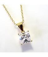 Sterling Silver 14k Gold Vermeil 1 Cttw CZ Princess Cut Solitaire Pendan... - $14.84