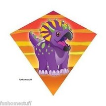 "TRICERATOPS 18"" MINI DIAMOND NYLON FLYING WIND KITE + FREE LINE & WINDER... - $17.45"
