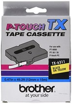 Brother TX6311 1/2in Black On Yellow for Pt-30/35/8000/pc - $33.72