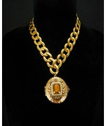 LARGE Victorian Pearl locket Rhinestone religious portrait Thick gold chain - $225.00