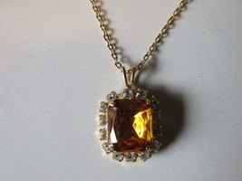 Retro / Vintage Amber Glass & White Rhinestone Prong Set Pendant Necklace - $10.99
