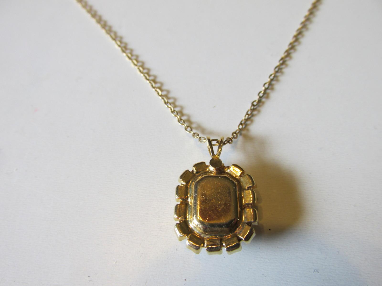 Retro / Vintage Amber Glass & White Rhinestone Prong Set Pendant Necklace