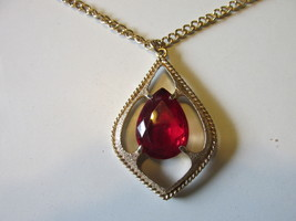 "Vintage Sarah Coventry ""Scarlet Tears"" Pendant Necklace-Faceted, Prong Set, 1974 - $15.00"