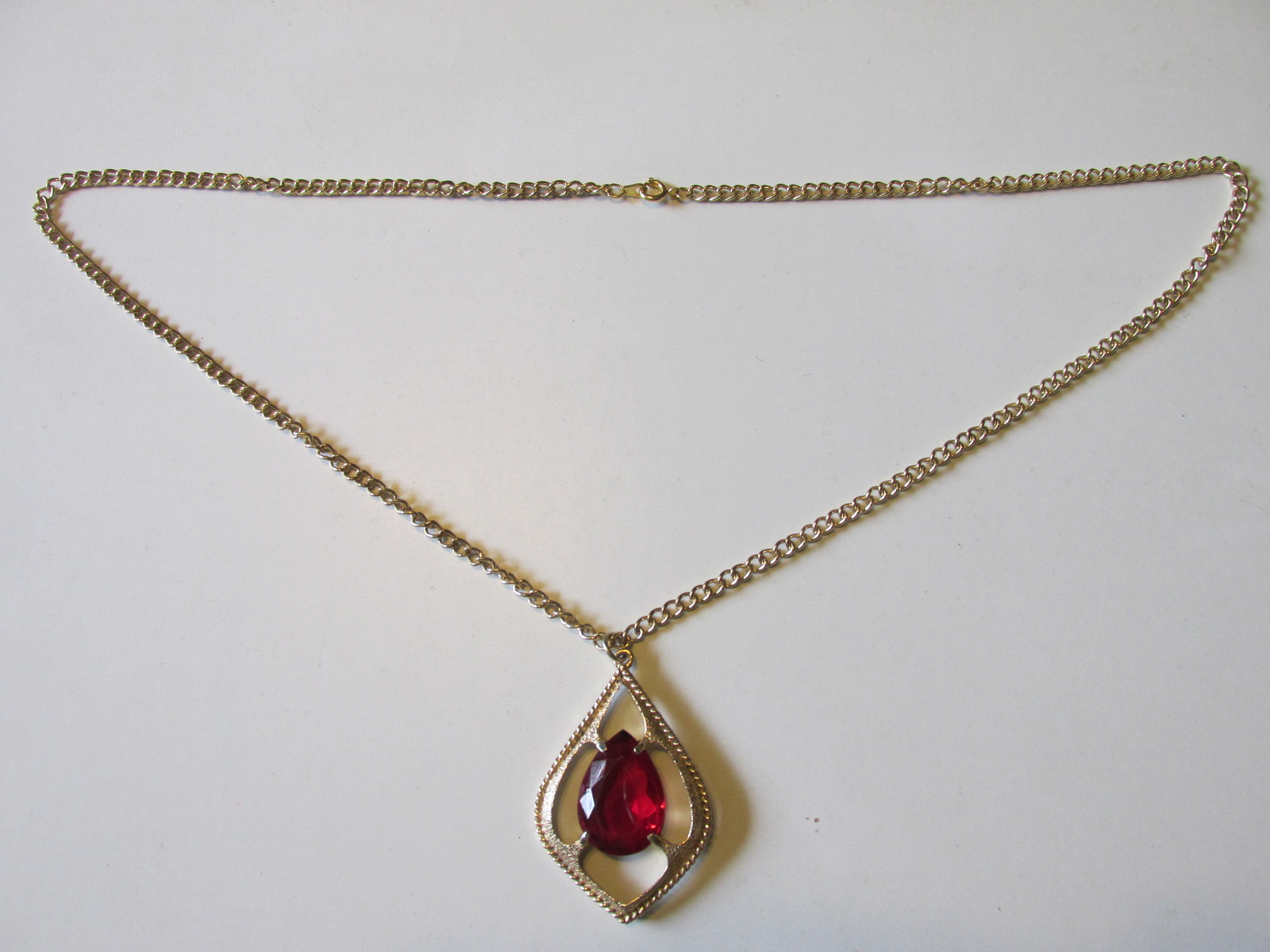 "Vintage Sarah Coventry ""Scarlet Tears"" Pendant Necklace-Faceted, Prong Set, 1974"