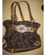 Kathy Van Zeeland Brown Shopper Bag Heart & Crown Metal Handbag - $28.00