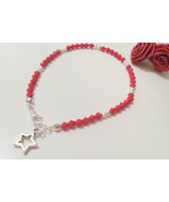 Handcrafted Dark Red Crystal Beaded Anklet with Star Charm - $9.99