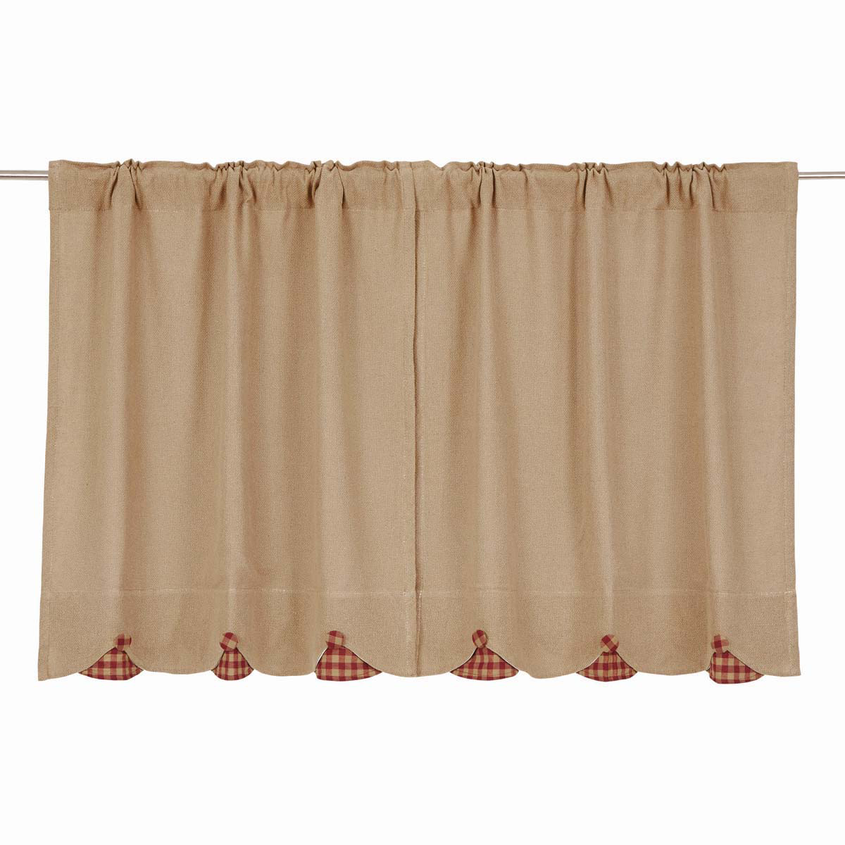 BURLAP NATURAL Tier w/Burgundy Check - Set of 2 - 36x36 - Farmhouse - VHC Brands