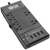 Tripp Lite TLP66USBR Protect It! 6-Outlet Surge Protector with 4 USB Ports, 6ft  - $60.11