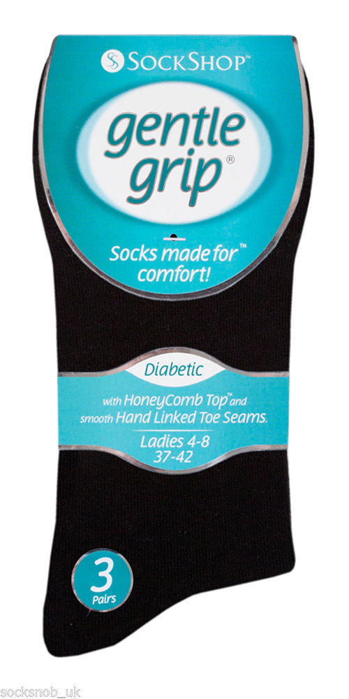 6 Pairs Ladies Sockshop Gentle Grip Diabetic Medical Socks Size 4-8 Uk 37-42 Eu