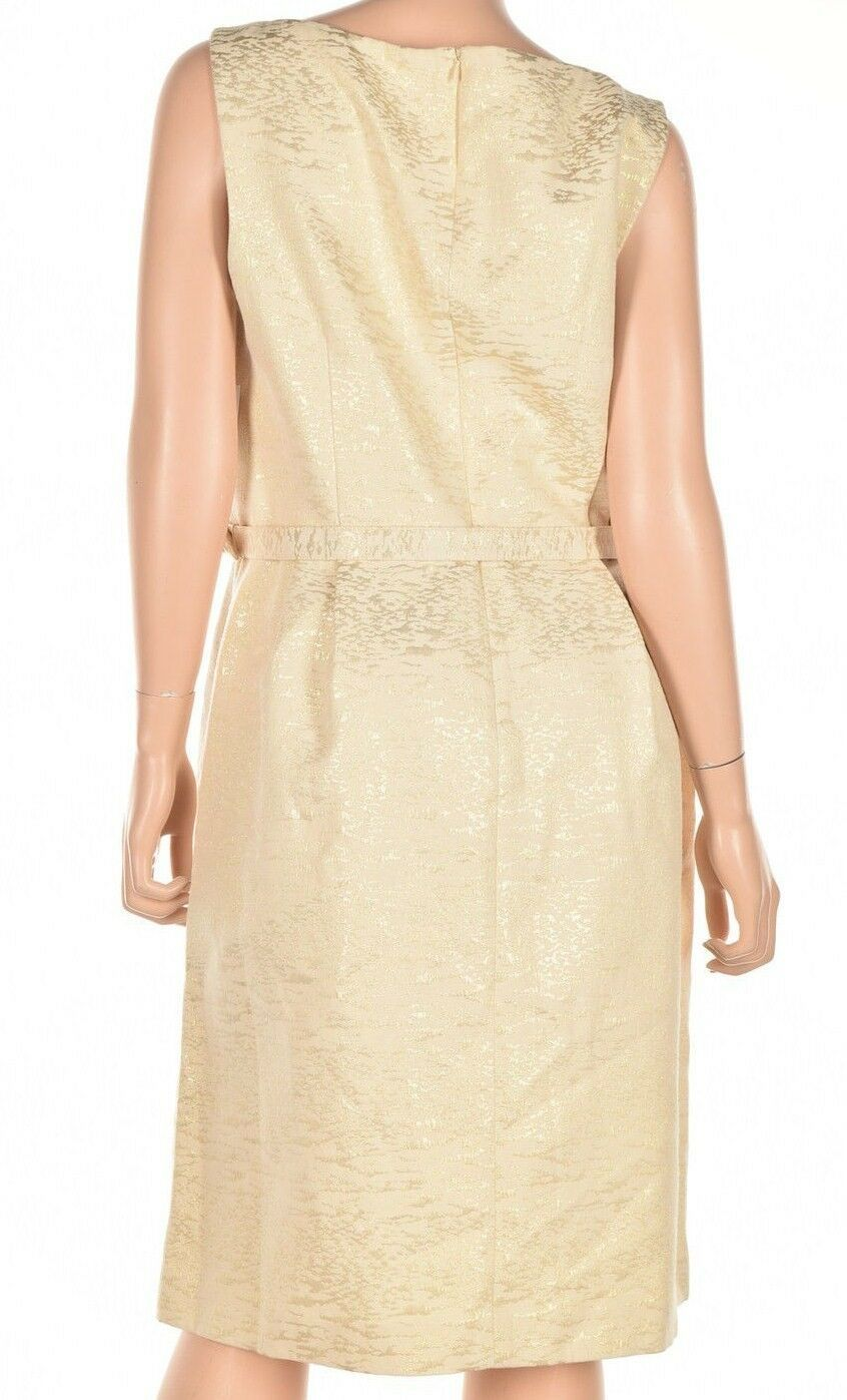 Anne Klein Women's Belted Jacquard Fit Flare Gold Combo Dress Size 14 $139 image 3