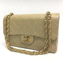 AUTHENTIC CHANEL Matelasse 23 Double Flap Shoulder Bag Beige Lambskin A0... - $1,400.00
