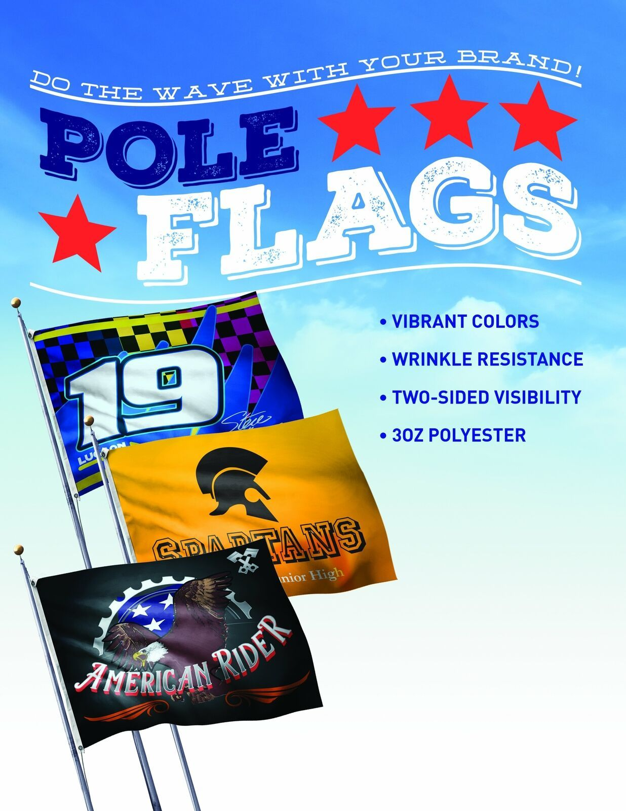 Custom Pole Flag,  Hem & grommet for pole installation  1 or 2 sided graphic