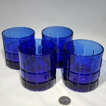 "Set of 4 Anchor Hocking Cobalt Blue Tartan 3.5"" Short Old Fashioned Glas... - $32.95"