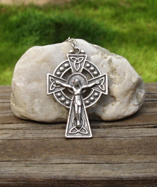 Celtic Cross Crucifix Pendant, Rosary Cross, Signed ERIN